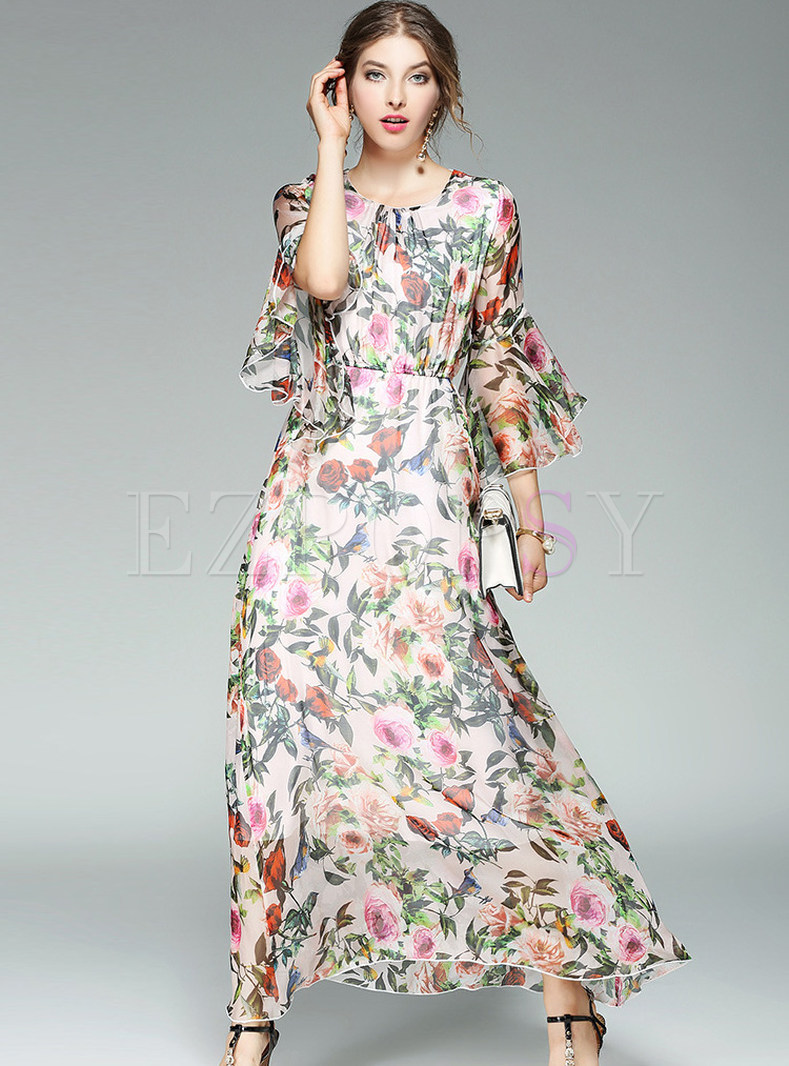 Dresses Maxi Dresses Bohemian Floral Print Flare