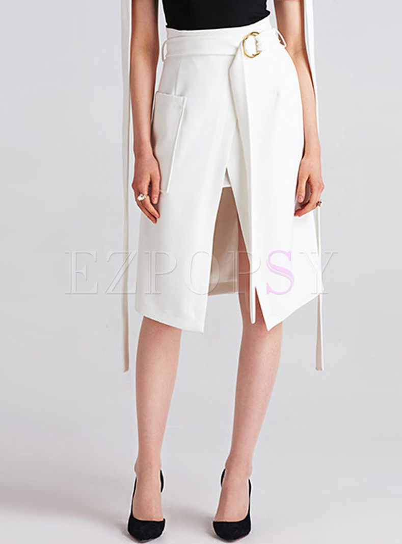 Brief White Asymmetrical Open Fork Skirt