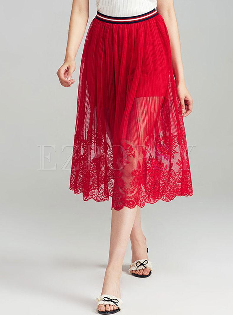 casual high waist sheath lace skirt ezpopsy
