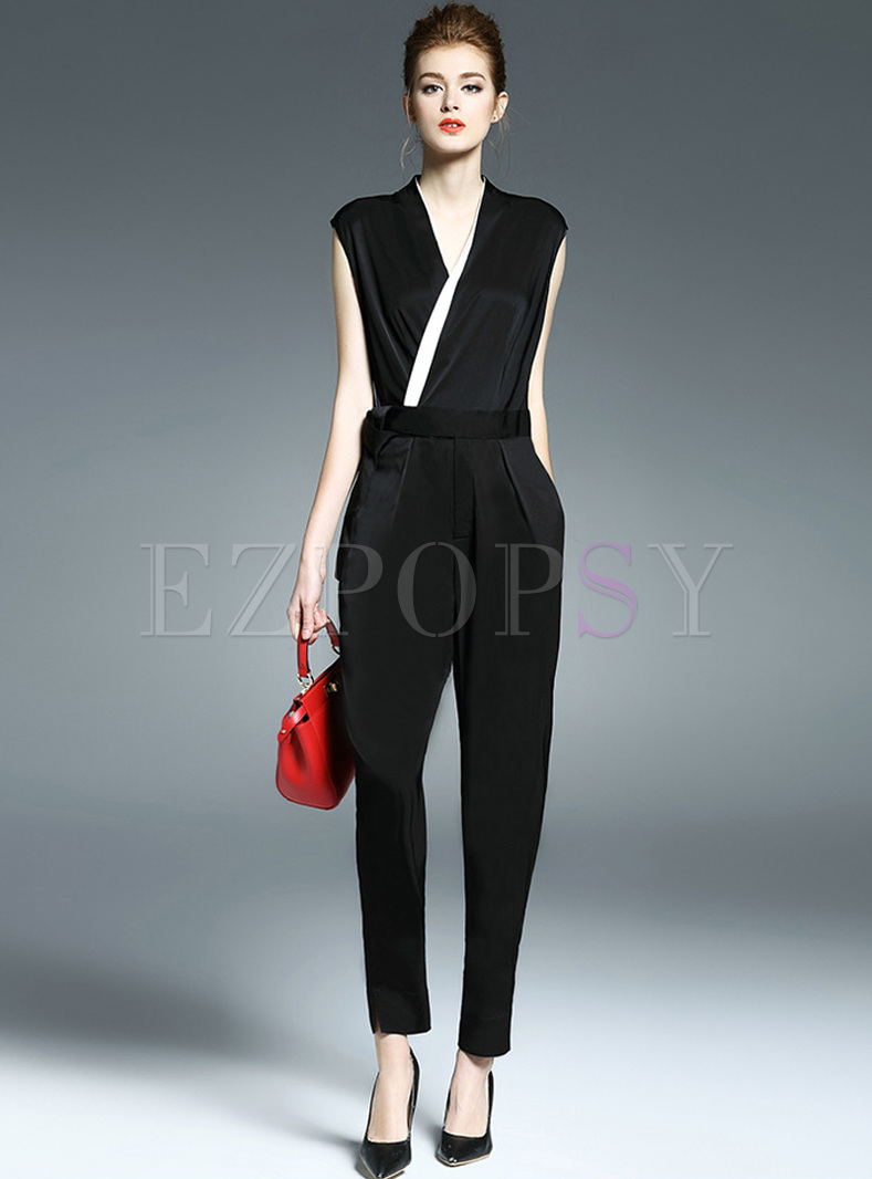 Work V-neck Waist Slim Jumpsuits