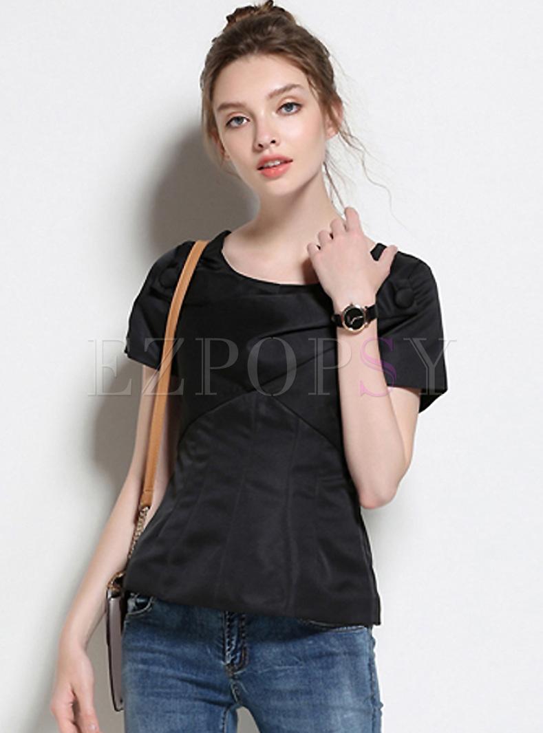 Brief Asymmetric Patch Slim T-shirt
