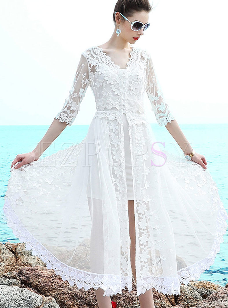 Stylish Sexy Lace Embroidered Mesh Maxi Dress With Underskirt