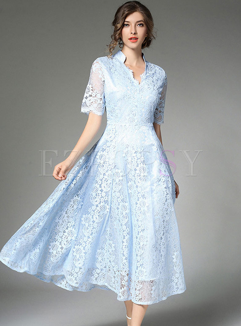 Blue Lace Hollow Out Big Hem Maxi Dress