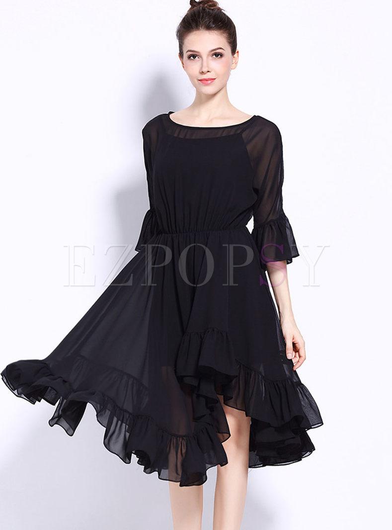Black Chiffon Elastic Waist Falbala Skater Dress With Underskirt