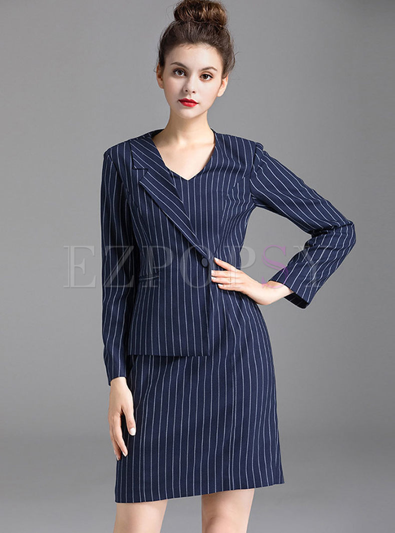 Work Striped Stitching Asymmetry Long Sleeve Bodycon Dress
