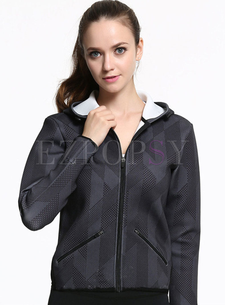 Brief Print Hooded Long Sleeve Sports Yoga Coat