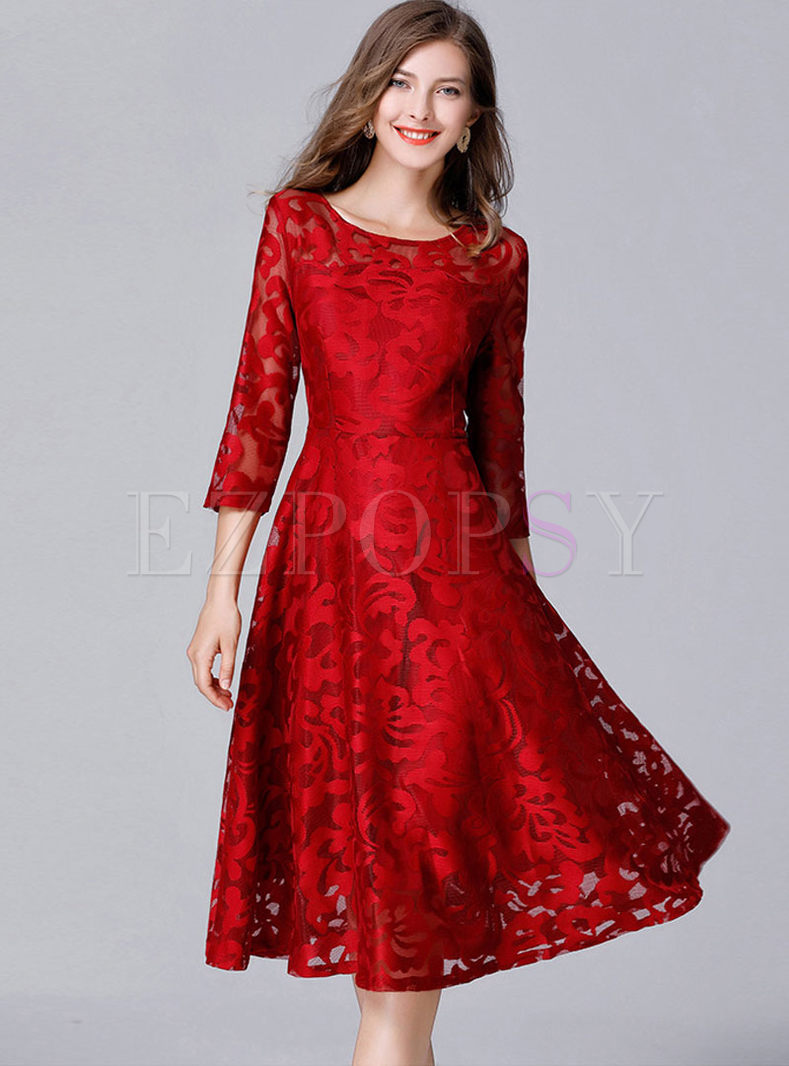 Red Lace See Through Big Hem Skater Dress