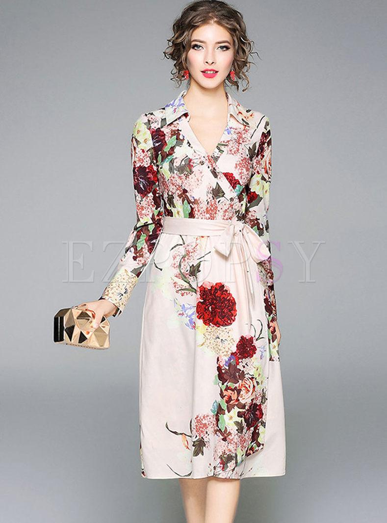 Floral Print V-neck Belt Long Sleeve Skater Dress
