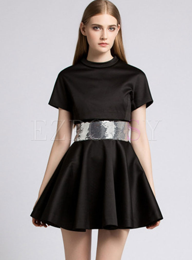 bab1a717d43f black short sleeve skater dress – Little Black Dress   Black Lace ...