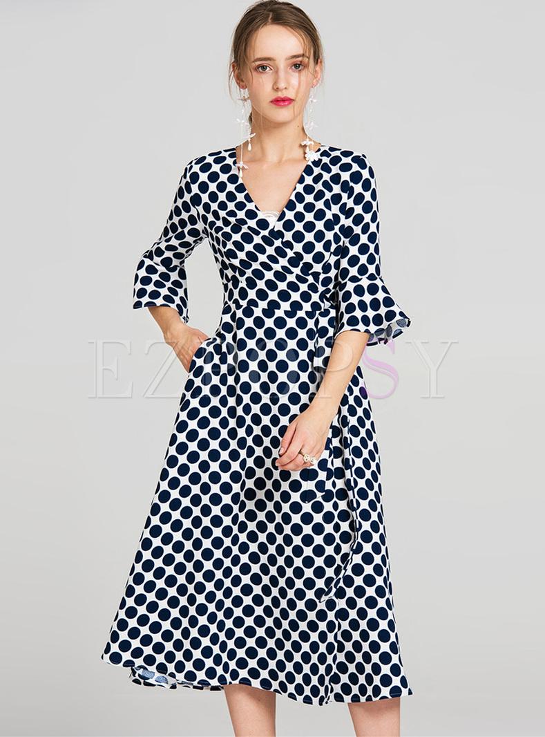 Elegant Dot Print V-neck Flare Sleeve Skater Dress