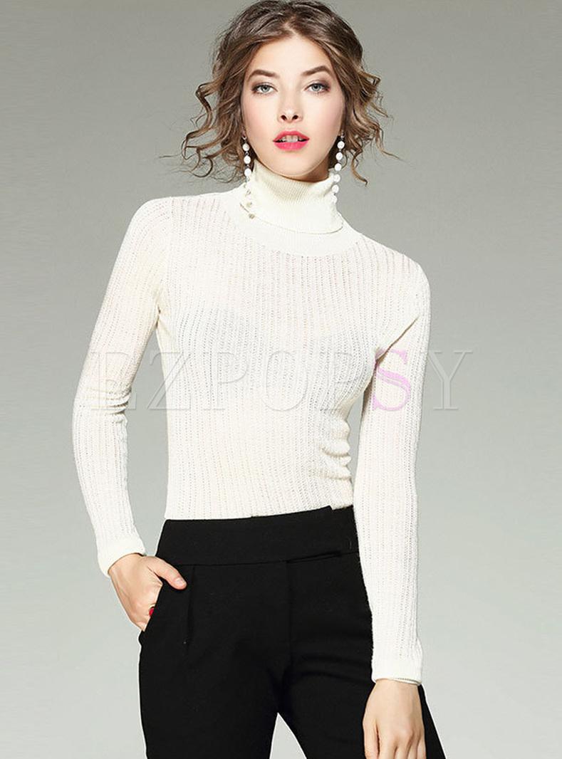 Brief White High Neck Woolen Sweater