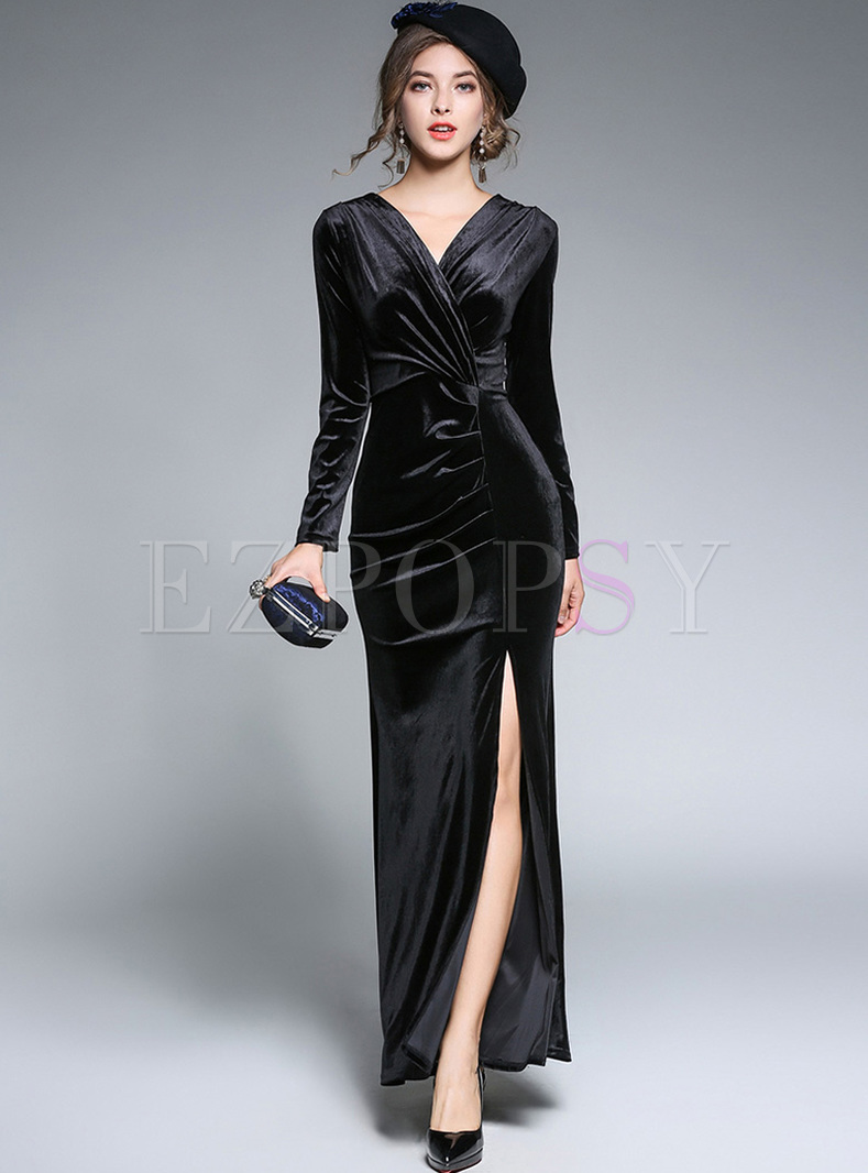 Sexy V-neck Waist Split Maxi Dress