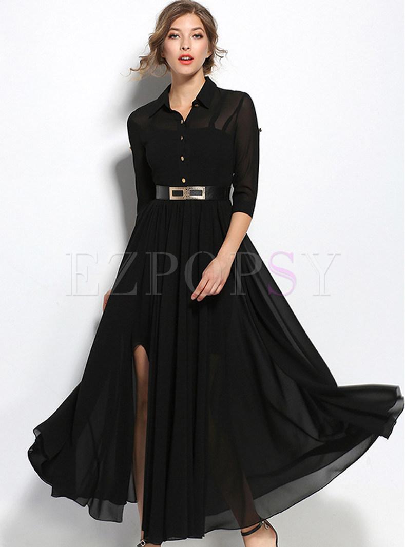 Brief Black Turn Down Collar Three Quarters Sleeve Maxi Dress