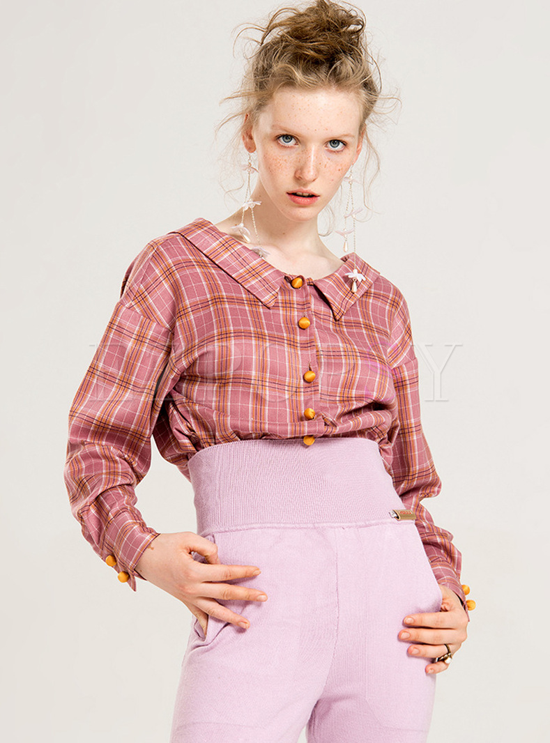 Plaid Turn Down Collar Single-breasted Blouse