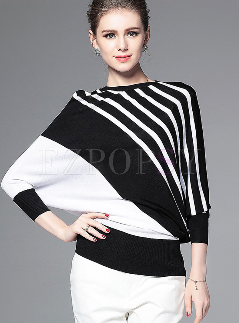 Bat Sleeve Striped Asymmetric Sweater