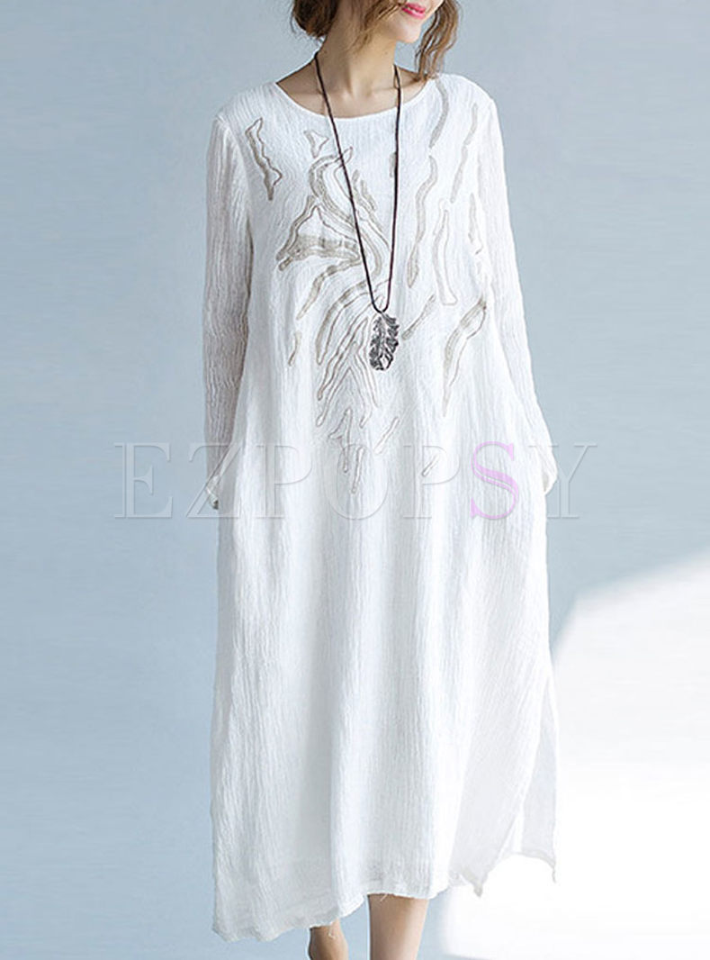 White Embroidered Long Sleeve Shift Dress
