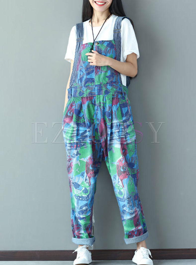 Casual Colorful Print Hole Denim Overalls