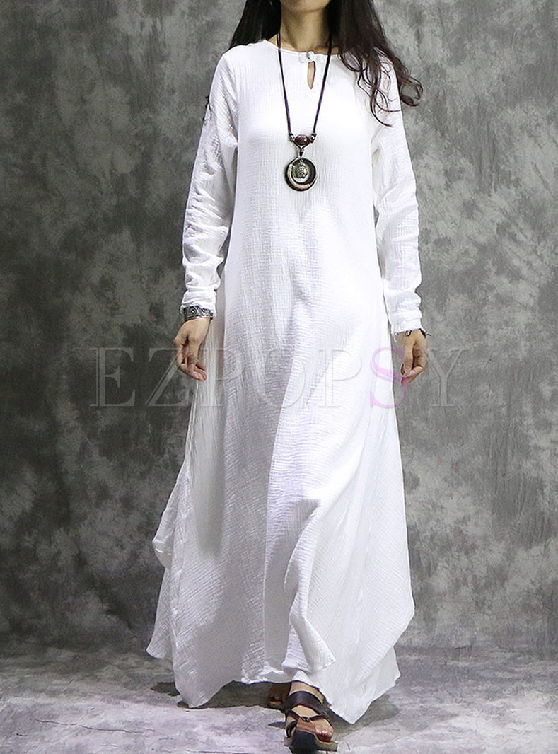 White Vintage Long Sleeve Asymmetry Hem Maxi Dress