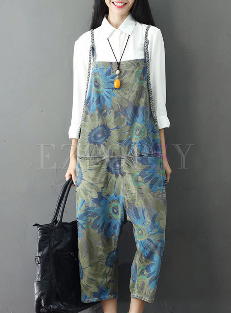 Fashion Floral Loose Calf-length Overalls