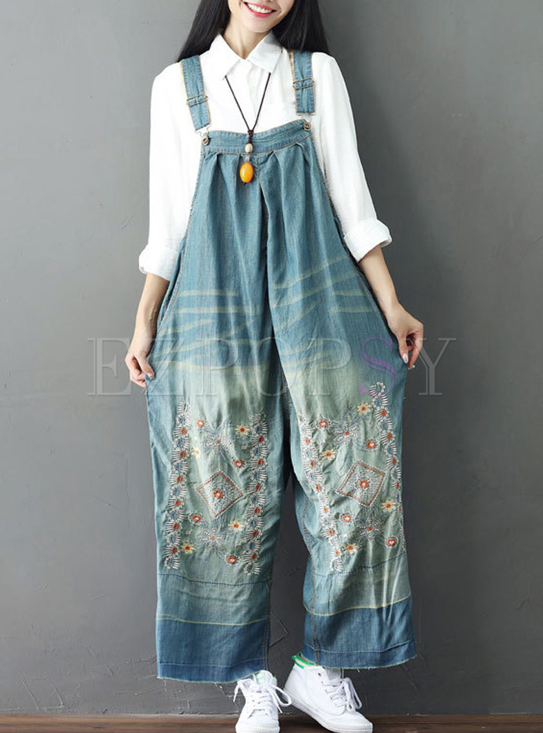 Cute Loose Wash Embroidery Overalls