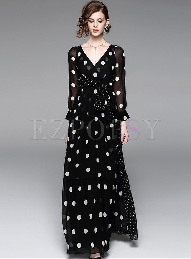 Elegant Dot Print V-neck Maxi Dress