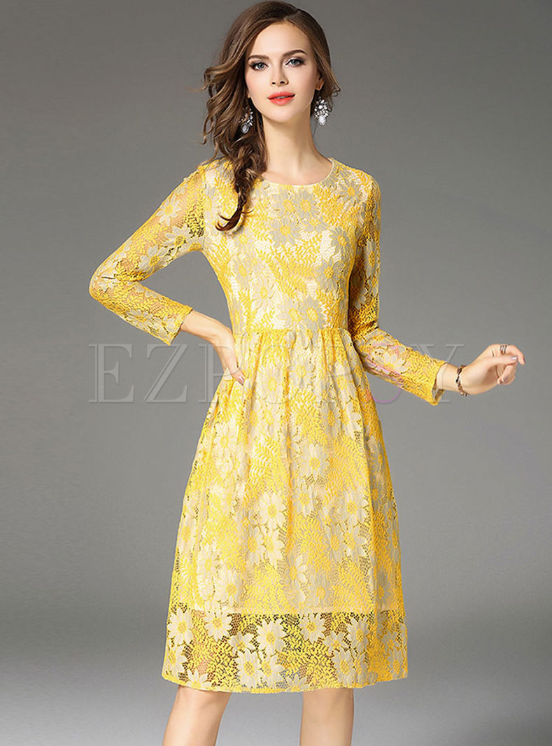 Yellow Embroidered Lace Long Sleeve Skater Dress