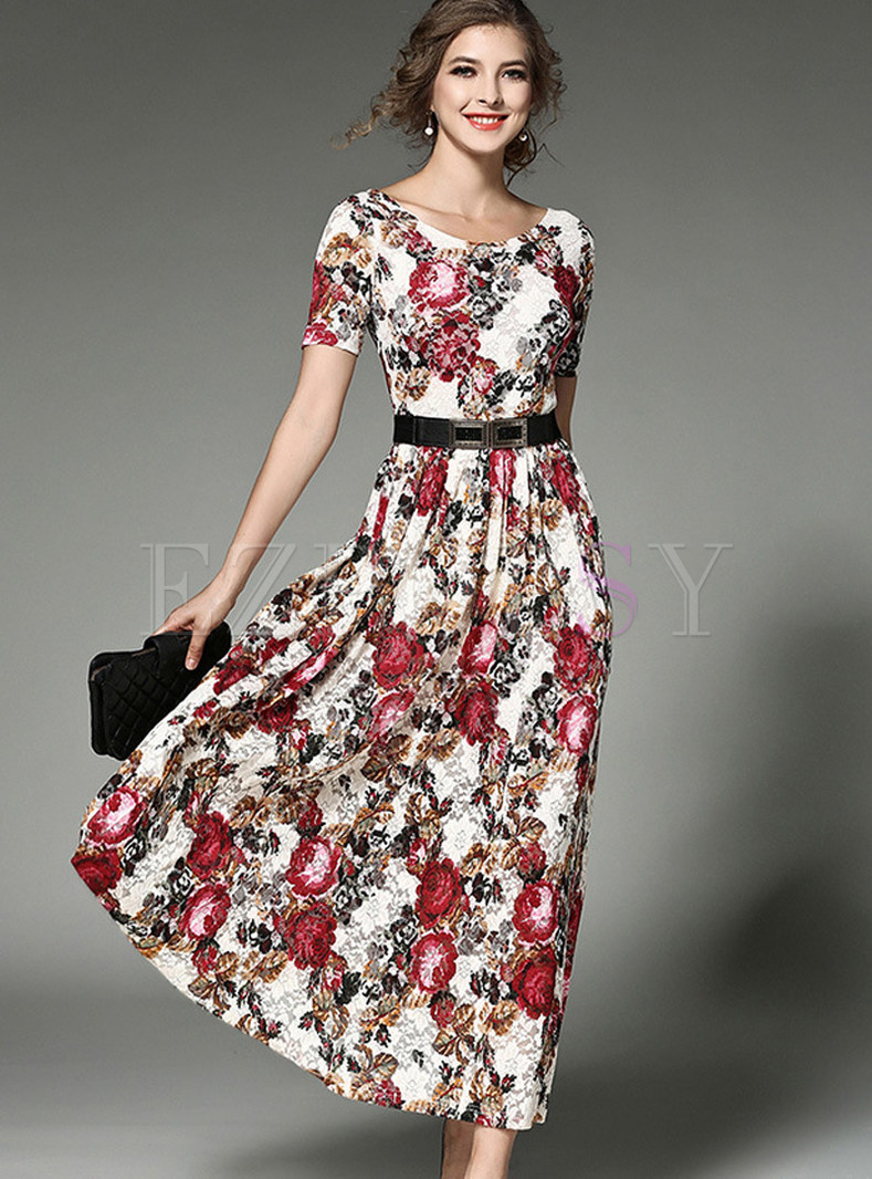 Elegant Lace Print Gathered Waist Maxi Dress