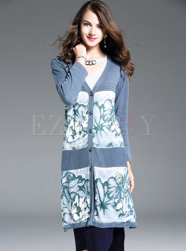 Print V-neck Long Sleeve Sweater Coat