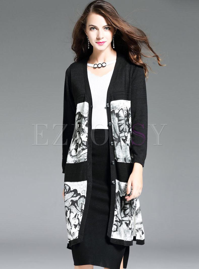 Ethnic Print V-neck Long Sleeve Knitted Coat