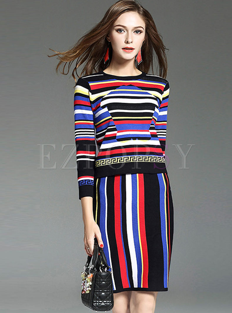 ceff0f2a14bc Two-piece Outfits | Two-piece Outfits | Causal Colorful Striped Long Sleeve  Knitted Two-piece Outfits