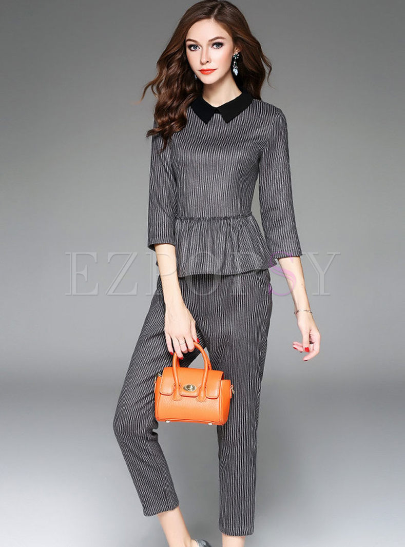 Cute Striped Slim Three Quarters Sleeve Two-piece Outfits