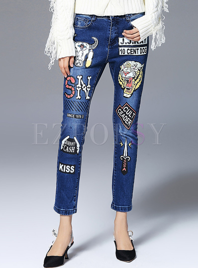 Cute Cartoon Design Denim Pencil Pants