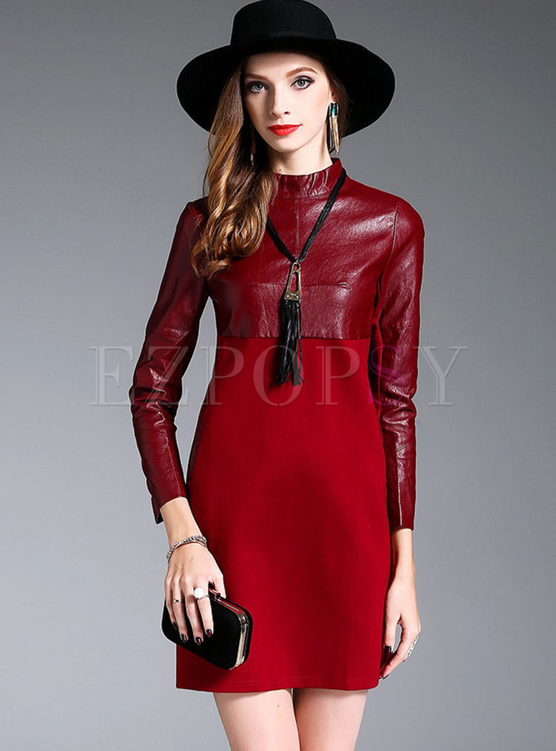 Street PU Stitching Long Sleeve Stand Collar Skater Dress