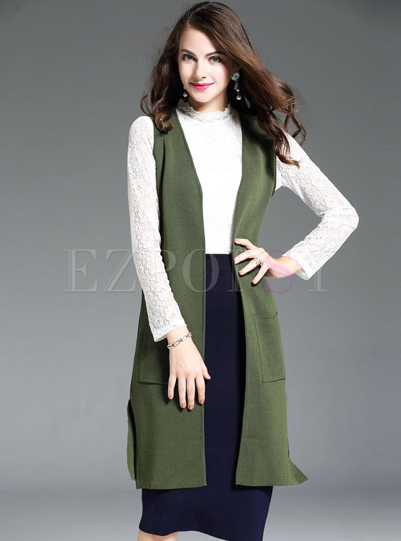 Casual Sleeveless Slit Knitted Vest