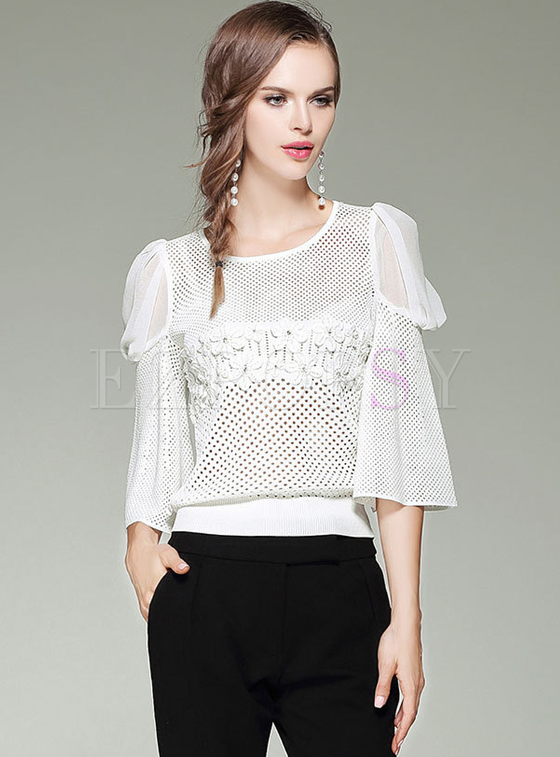 White Mesh Hollow Flare Sleeve Blouse