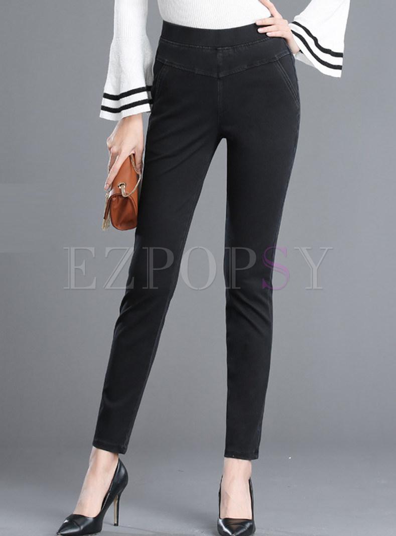 Black Brief Slim Elastic Pencil Pants