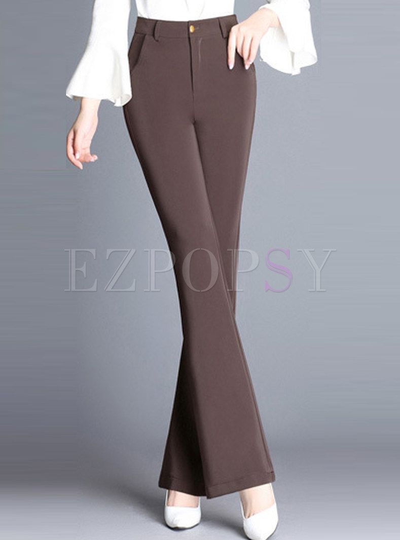 Brown Brief High Waisted Flare Pants
