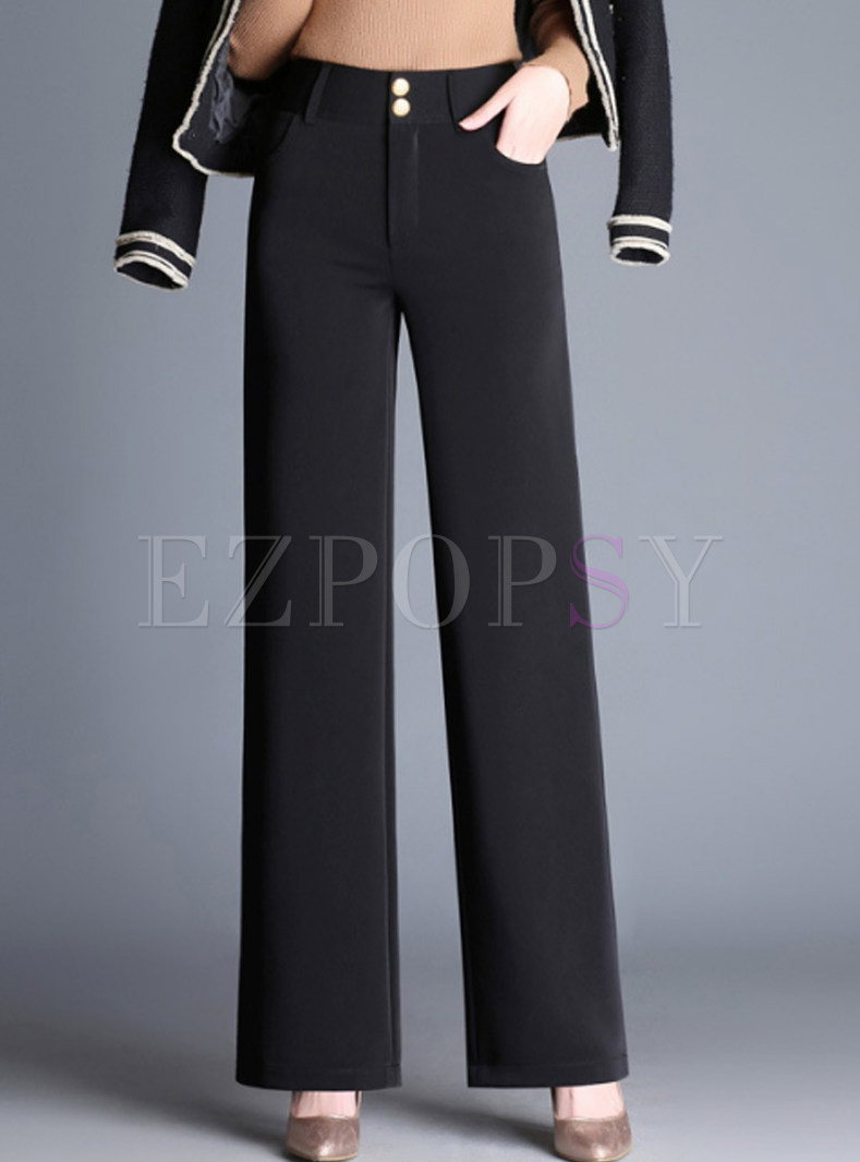 Black Brief Loose Straight Pants