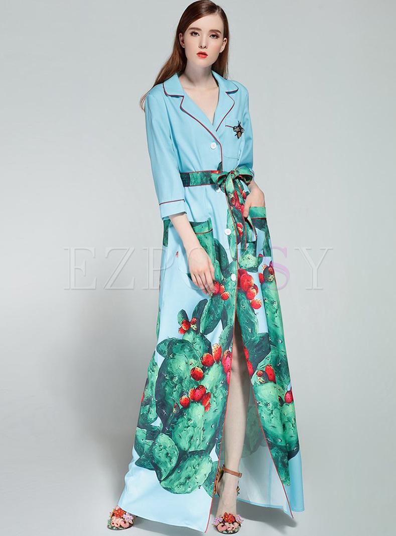 0c99c996cf Dresses   Maxi Dresses   Chic Cactus Print Notched Neck Maxi Dress