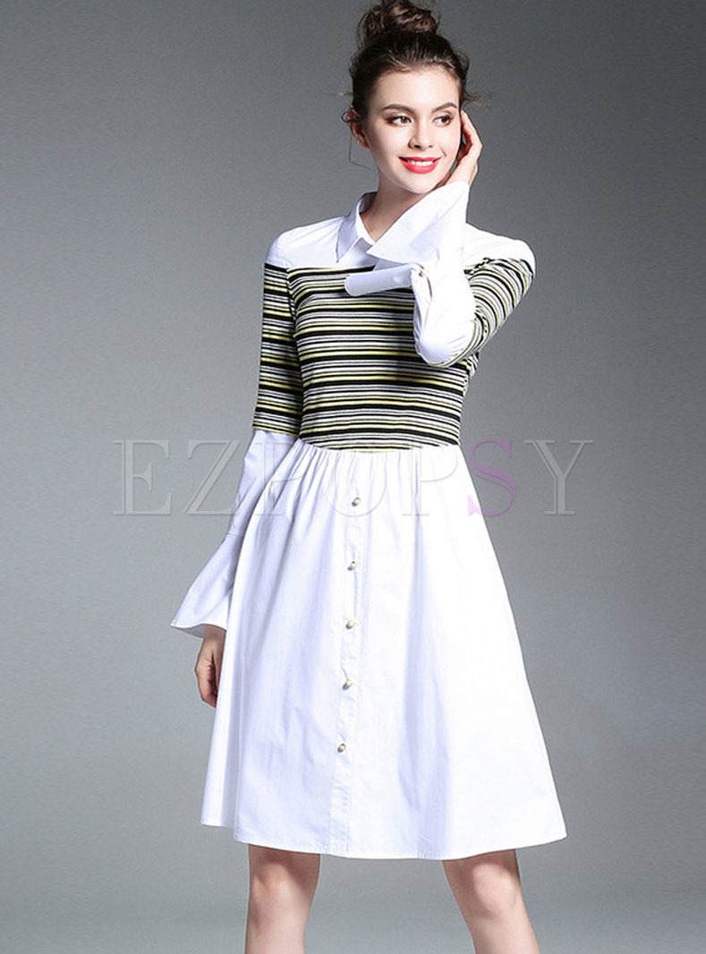 Striped Splicing Hit Color Flare Sleeve A-line Shirt Dress