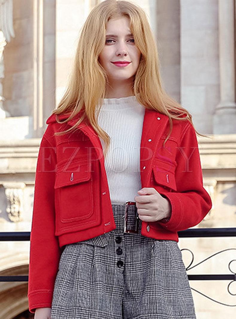 Red Turn Down Collar Woolen Short Coat