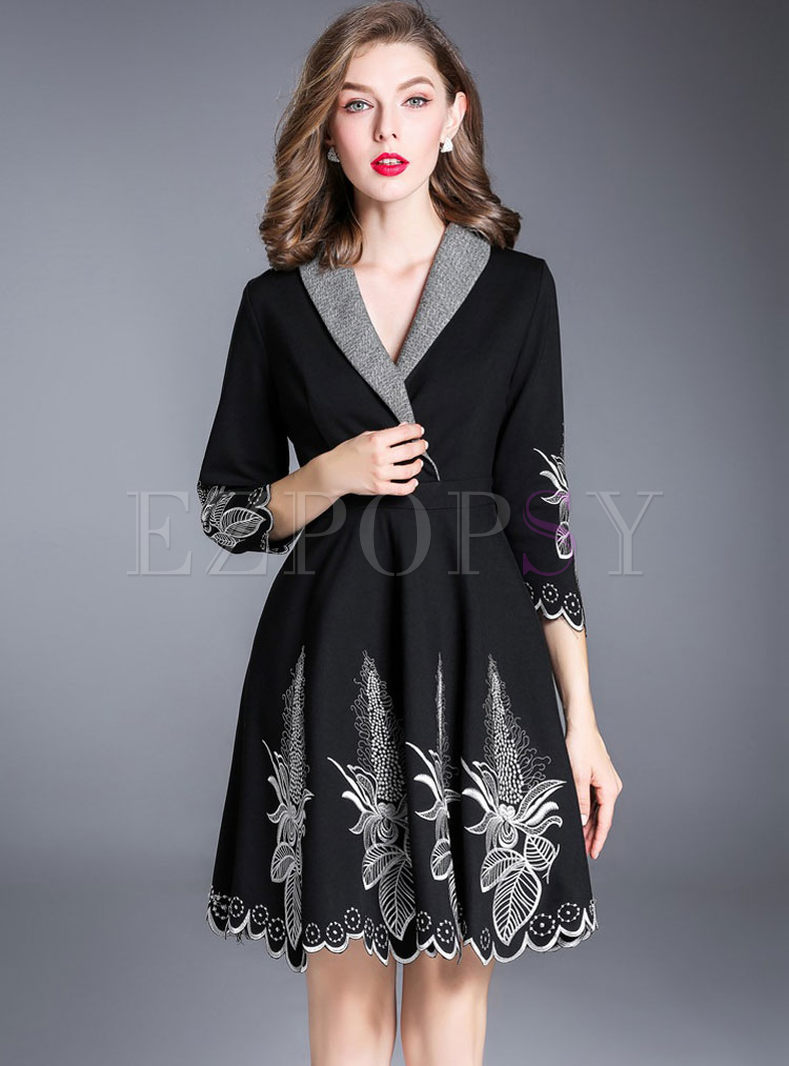 Black Turn Down Collar Embroidery A-line Dress