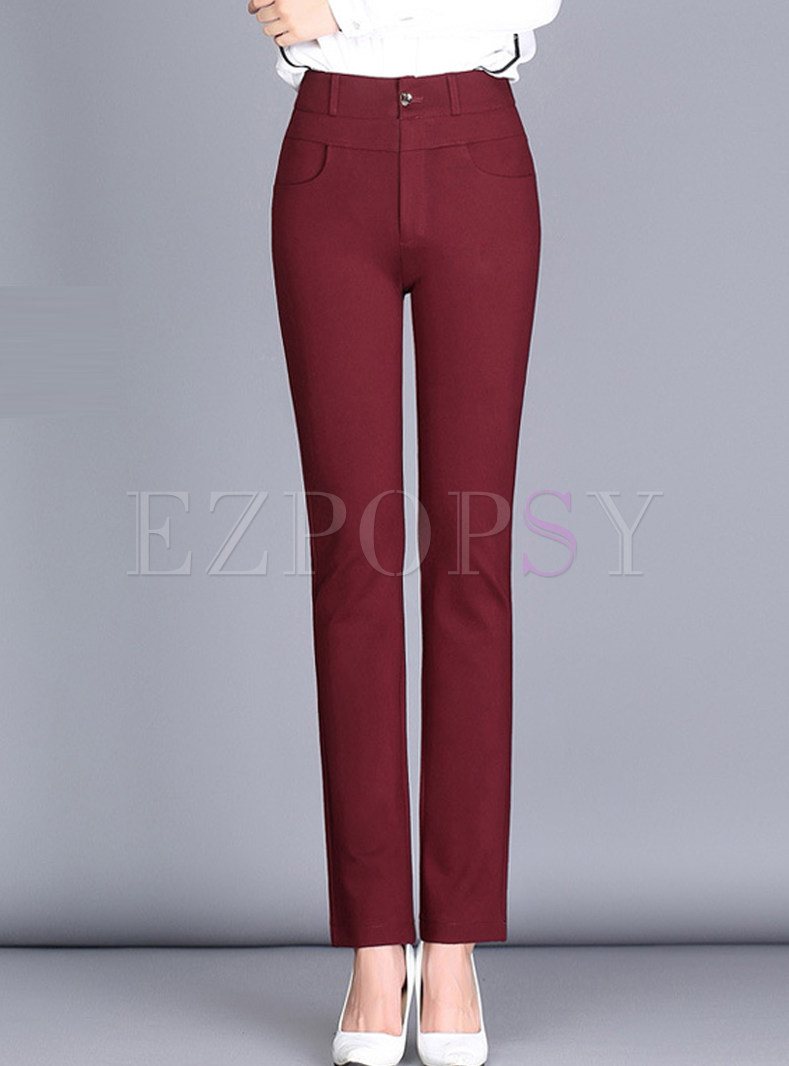 Wine Red Brief High Waist Straight Pants