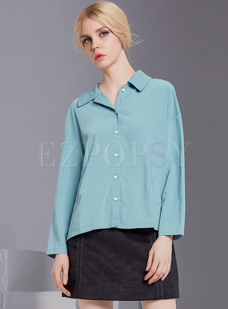 Chic Back-tied Lapel Loose Blouse