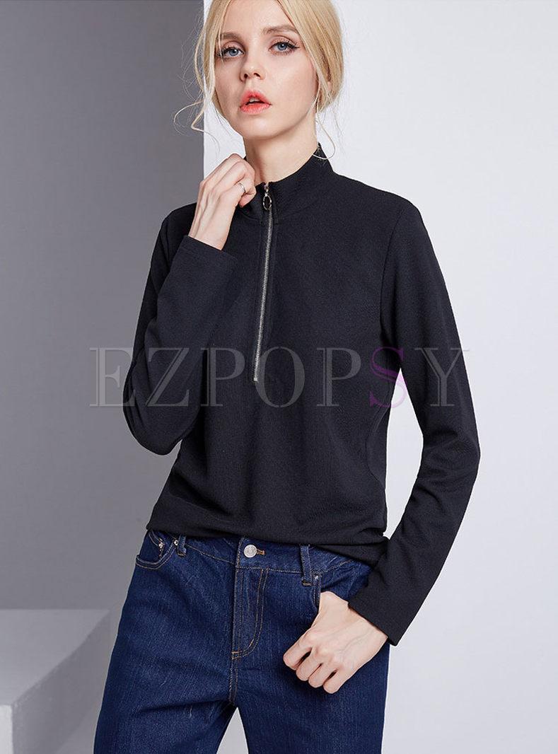 Brief Stand Collar Zipper T-shirt