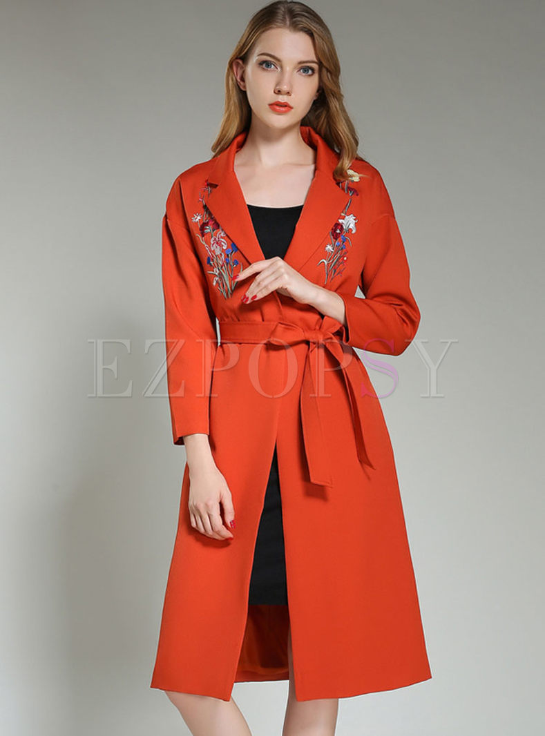 Chic Embroidery Belt Slim Trench Coat