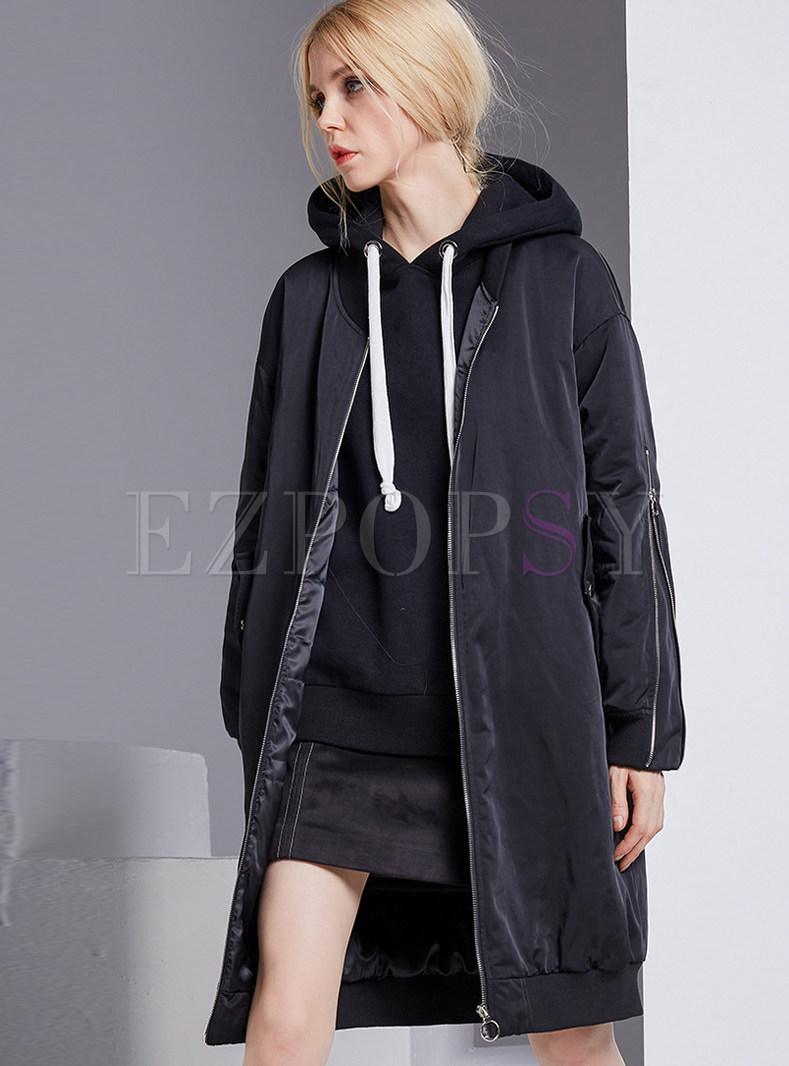 Brief Zip-design Stand Collar Down Coat