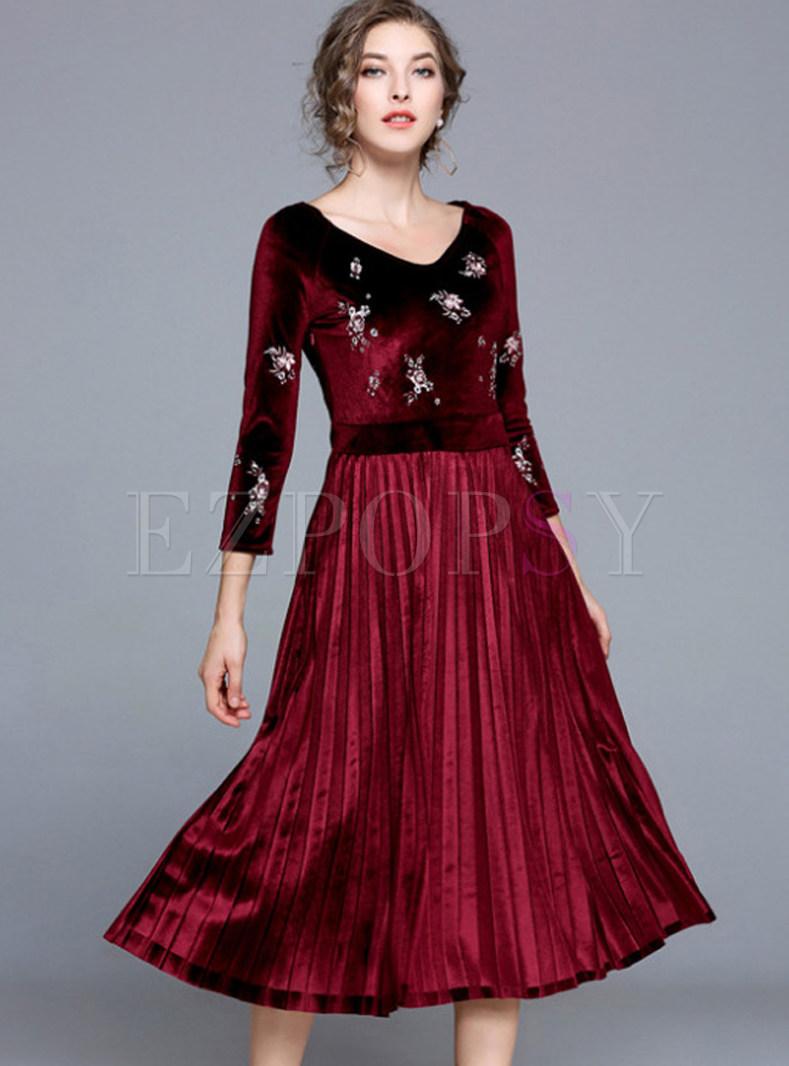 Ruffled V-neck Embroidered Velvet Skater Dress