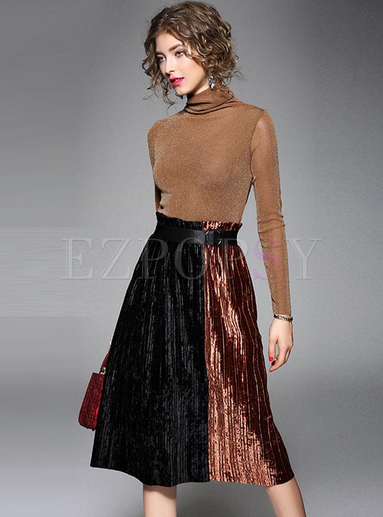 Camel Color-blocked Turtleneck A Line Dress