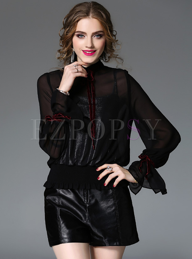 Black Flare Sleeve Stand Collar Blouse